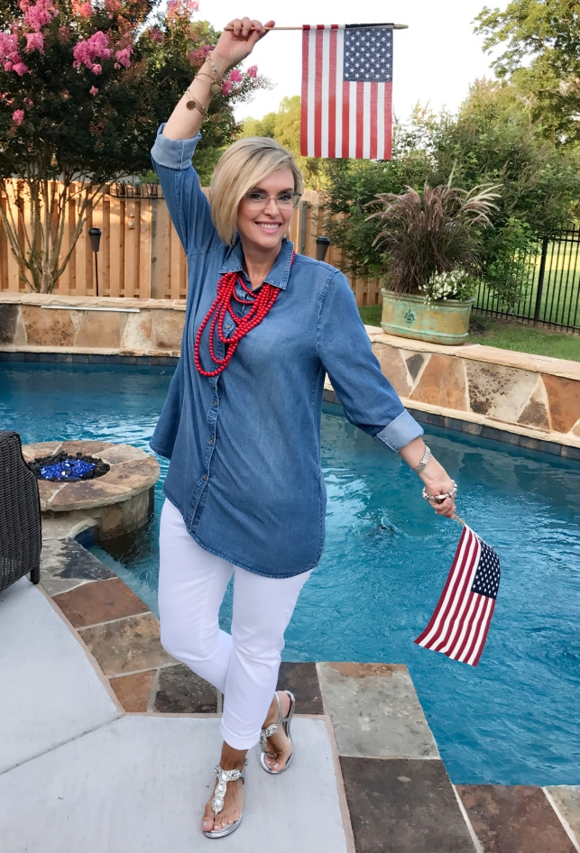 Chambray tunic and skinnies