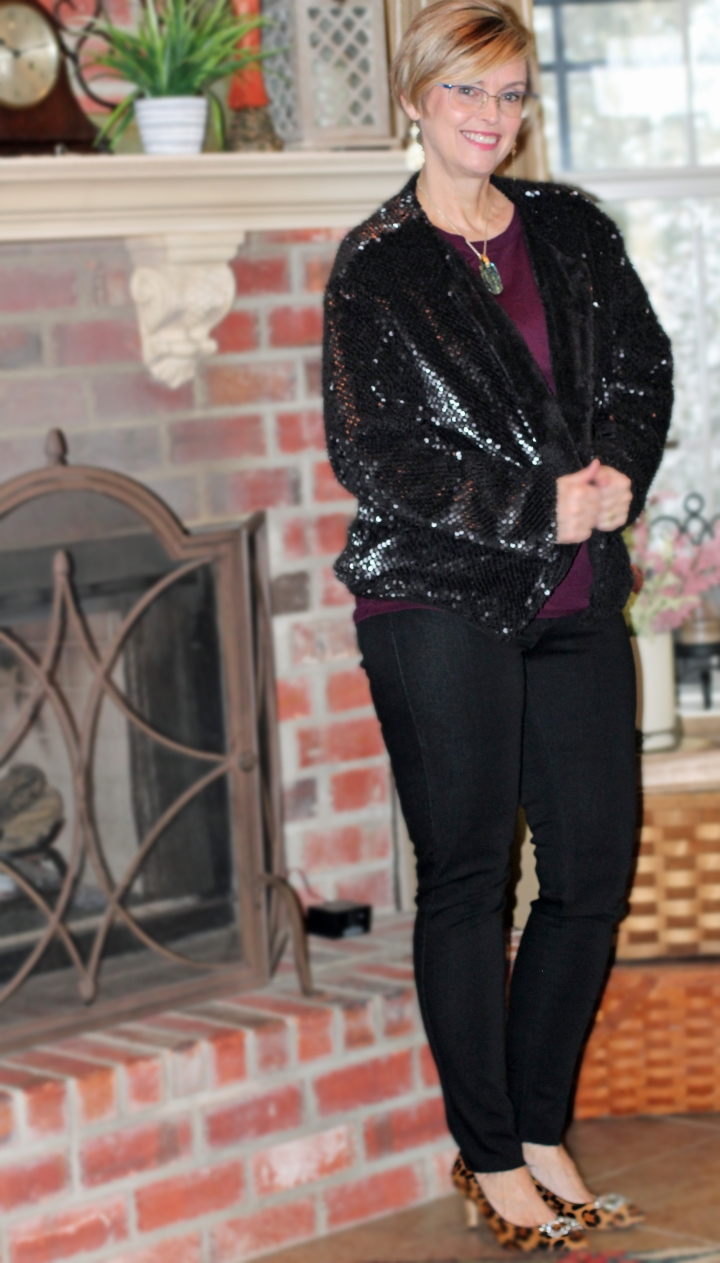 Stitch Fix Vero Moda Kiara Sequin Faux Fur Jacket