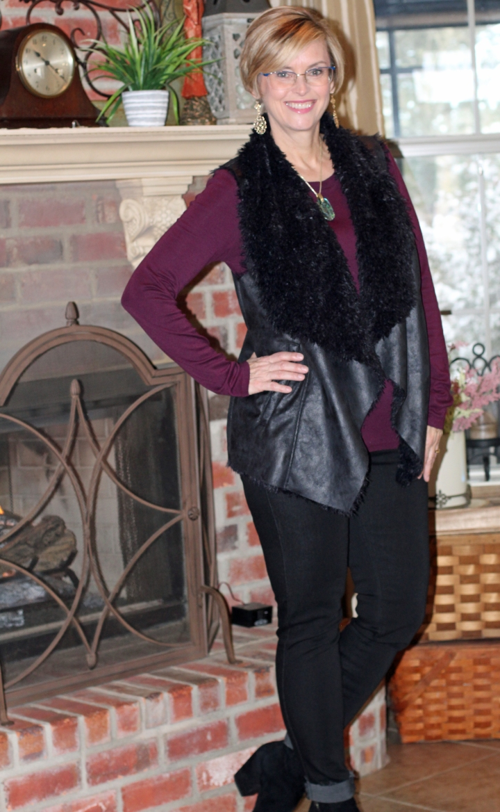 Mo-KA Linz Faux Shearling Vest and Just Black Drake Scissor Hem Skinny Jeans