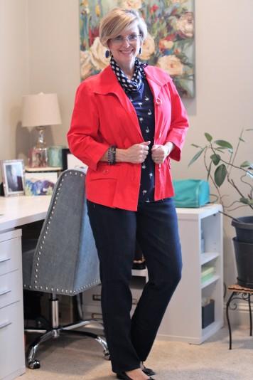 Red jacket & Dark Jeans