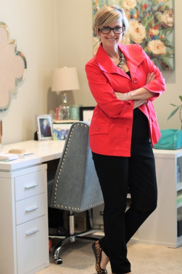 Red Jacket with Black Column